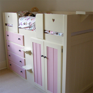 4 Drawer Kids Cabin Bed in Cream and Princess Pink