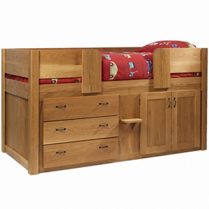3 Drawer Solid Oak Cabin Bed in an Oiled Finish with Bespoke Iron Dimple Handles