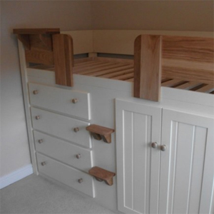 4 Drawer Kids Cabin Bed in Cream with Solid Oak Front Rails, Steps & Knobs