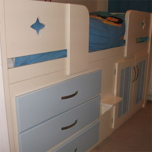 3 Drawer Kids Cabin Bed Cream and Sky Blue with a Star Front Rail