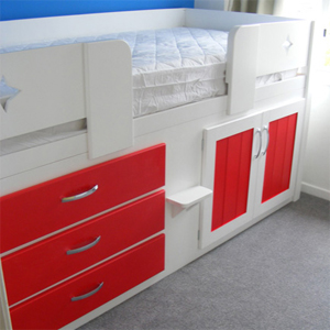 3 Drawer Kids Cabin Bed White and Ferrari Red with Shiny Chrome Dimple Knobs