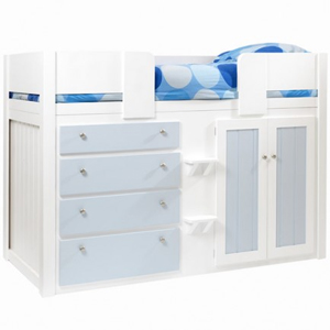 4 Drawer Kids Cabin Bed White and Sky Blue with Plain Front Rails