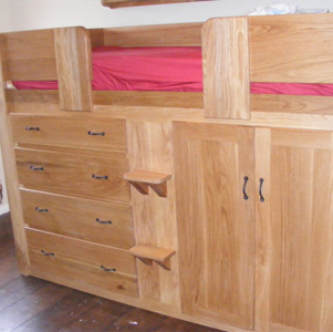 4 Drawer Solid Oak Cabin Bed with Bespoke Puwter Handles