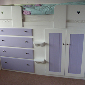 4 Drawer Girls Cabin Bed in White and Lilac with Heart Front Rails