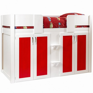 4 Door Boys Cabin Bed in White and Ferrari Red with Plain Front Rails