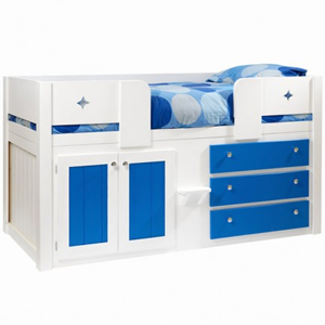 3 Drawer Boys Cabin Bed in White and Royal Blue with Star Front Rails and Polished Chrome Knobs