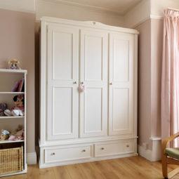 3 Door 2 Drawer Kids Wardrobe in Bone White