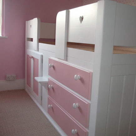 3 Drawer Kids Cabin Bed White & Princess Pink