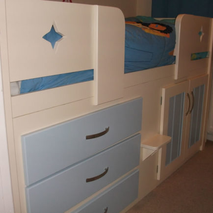 3 Drawer Kids Cabin Bed Cream and Sky Blue