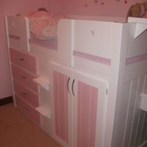 4 Drawer Childrens Cabin Bed White & Princess Pink