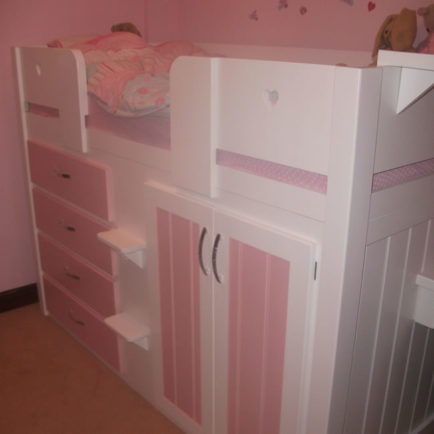 4 Drawer Childrens Cabin Bed White Amp Princess Pink
