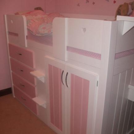 4 Drawer Childrens Cabin Bed White Amp Princess Pink