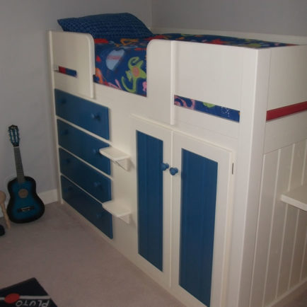 4 Drawer Kids Cabin Bed White & Royal Blue
