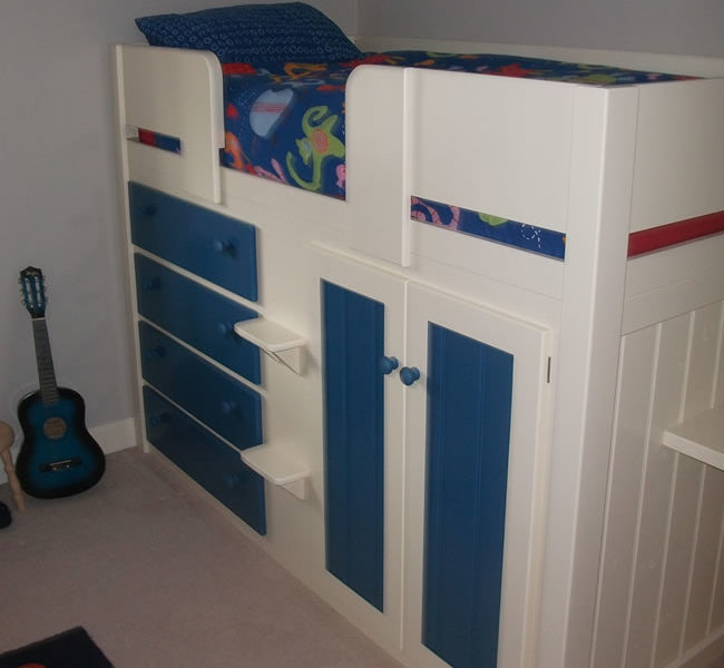 4 Drawer Kids Cabin Beds Royal Blue & White