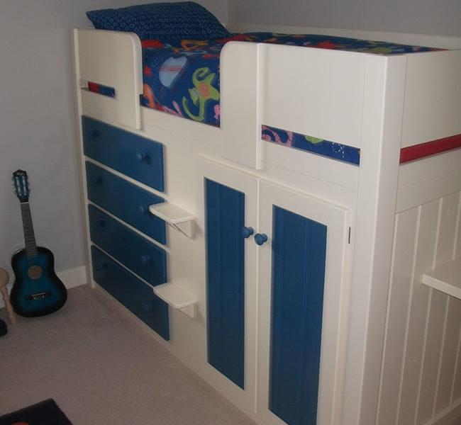 4 Drawer Kids Cabin Beds Royal Blue & White