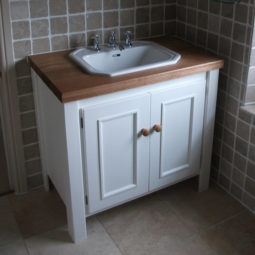 White Vanity Unit with Solid Oak Top
