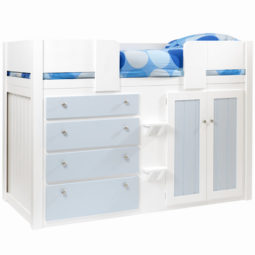 Kids Cabin Bed White and Sky Blue
