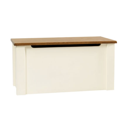 Ottoman in Bone White with Dark Top