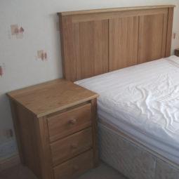 Solid Oak Bedside Cabinet and Headboard