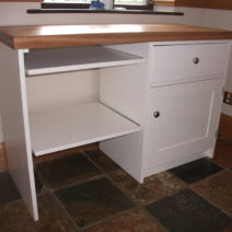 Computer Station in Bone White with 2″ Solid Oak Top