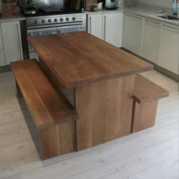 Solid Oak Table with Benches