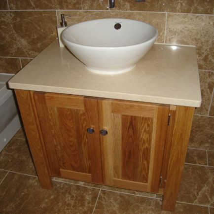 Solid Oak Vanity Unit with Sandstone Quartz Top