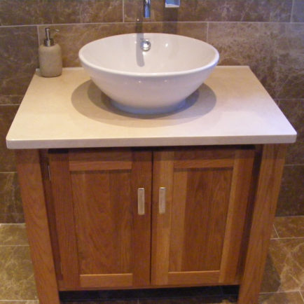 Astounding Solid Oak Vanity Unit With Sandstone Quartz Top Home Remodeling Inspirations Genioncuboardxyz
