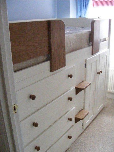 White & Oak Wooden Cabin Bed