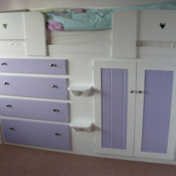 4 Drawer Kids Cabin Bed White and Lilac