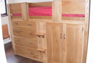 Wooden Cabin Bed with Storage