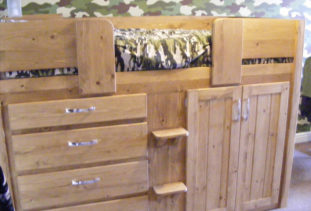 Kids Wooden Cabin Bed with Cupboards And Drawers