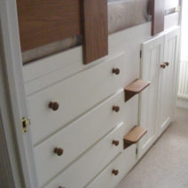 4 Drawer Kids Cabin Bed White with Steps & Solid Oak Front Rail