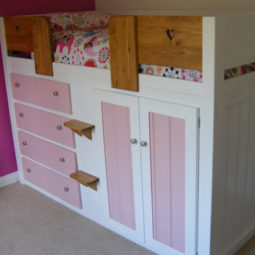 4 Drawer Kids Cabin Bed White and Princess Pink with Solid Oak Front Rail & Steps