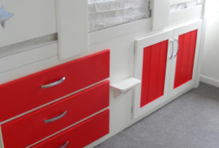 Kids Cabin Bed White & Red