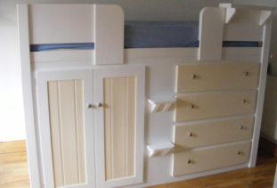 Kids Cabin Bed White & Cream