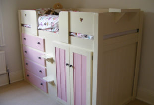 Kids Cabin Bed White & Pink