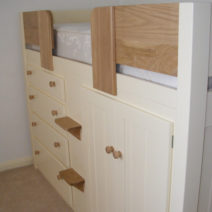 4 Drawer Kids Cabin Bed White with Solid Oak Front Rail & Steps