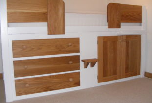 Kids Cabin Bed White with Oak Drawers