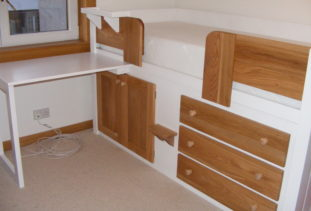 Kids Cabin Bed White with Oak Drawers 2