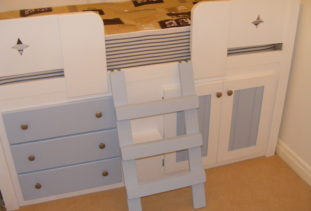 Cabin Bed Kids Blue/White