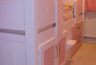 White Pink Cabin Bed
