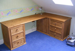 Wooden desk with storage