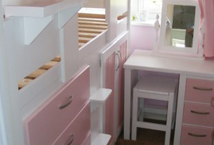 Cabin Bed White/Pink Wooden Base