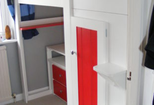 White & Red Kids High Sleeper Bed
