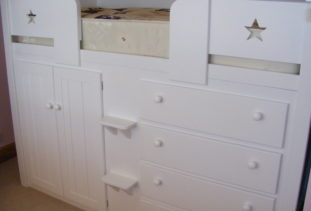 Cabin Bed White with Detailing