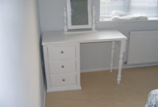 White wooden dressing table