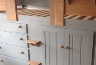 Grey Cabin Bed with Oak Steps & Rails