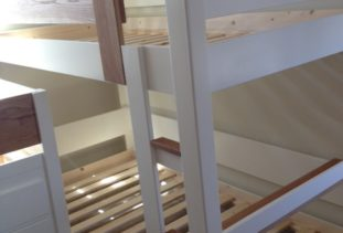 wooden cabin bed white and oak