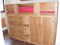 4 Drawer Kids Cabin Bed in Lacquered Solid Oak