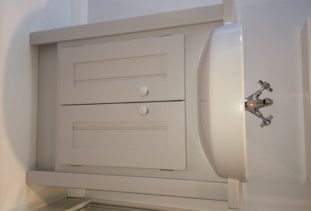 wooden vanity unit white